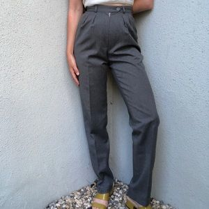 [vintage] grey high waist pleated wool trousers